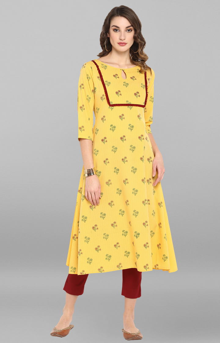 Janasya | Yellow Floral Kurta
