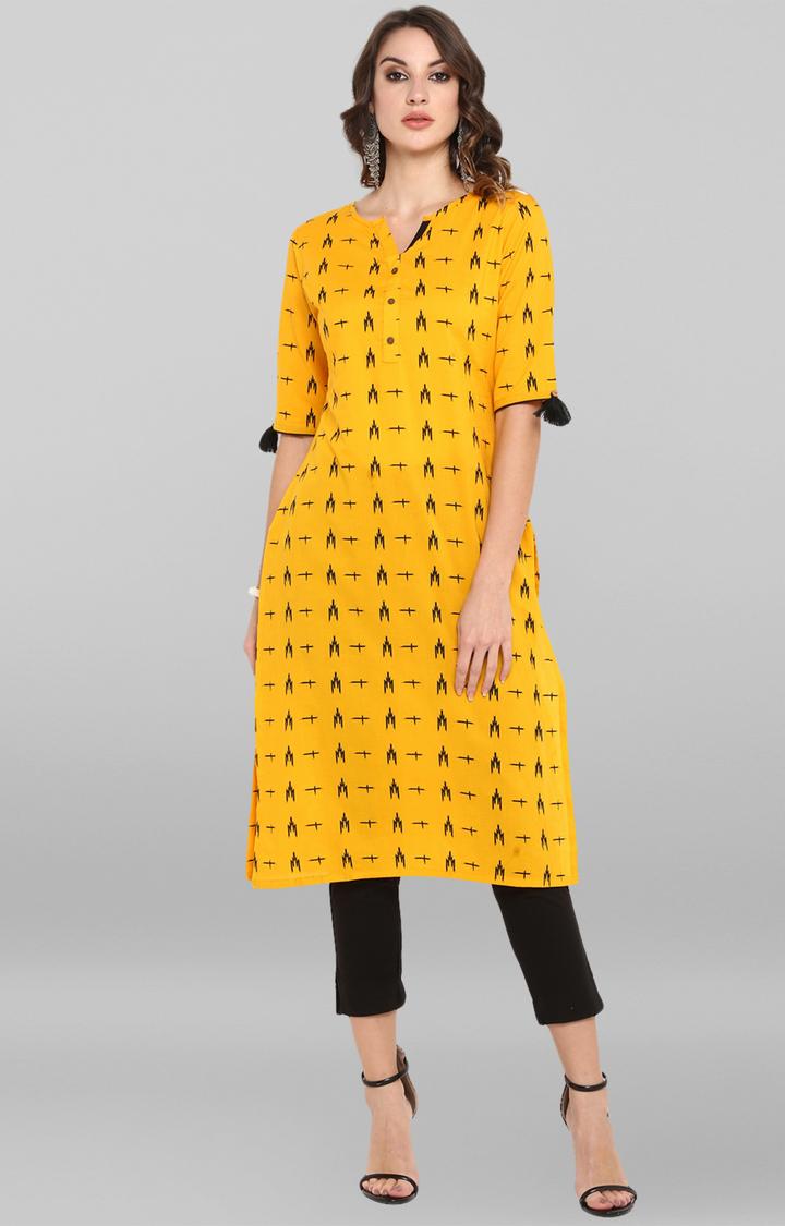 Janasya | Mustard Printed Kurta