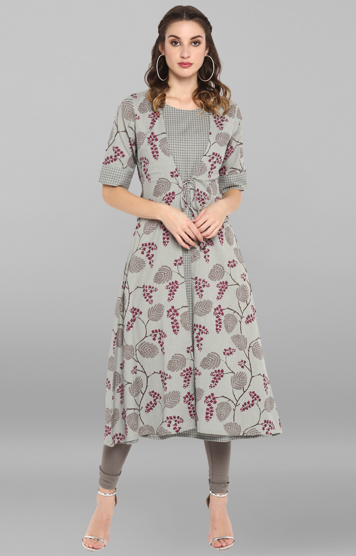 Janasya | Grey Floral Anarkali