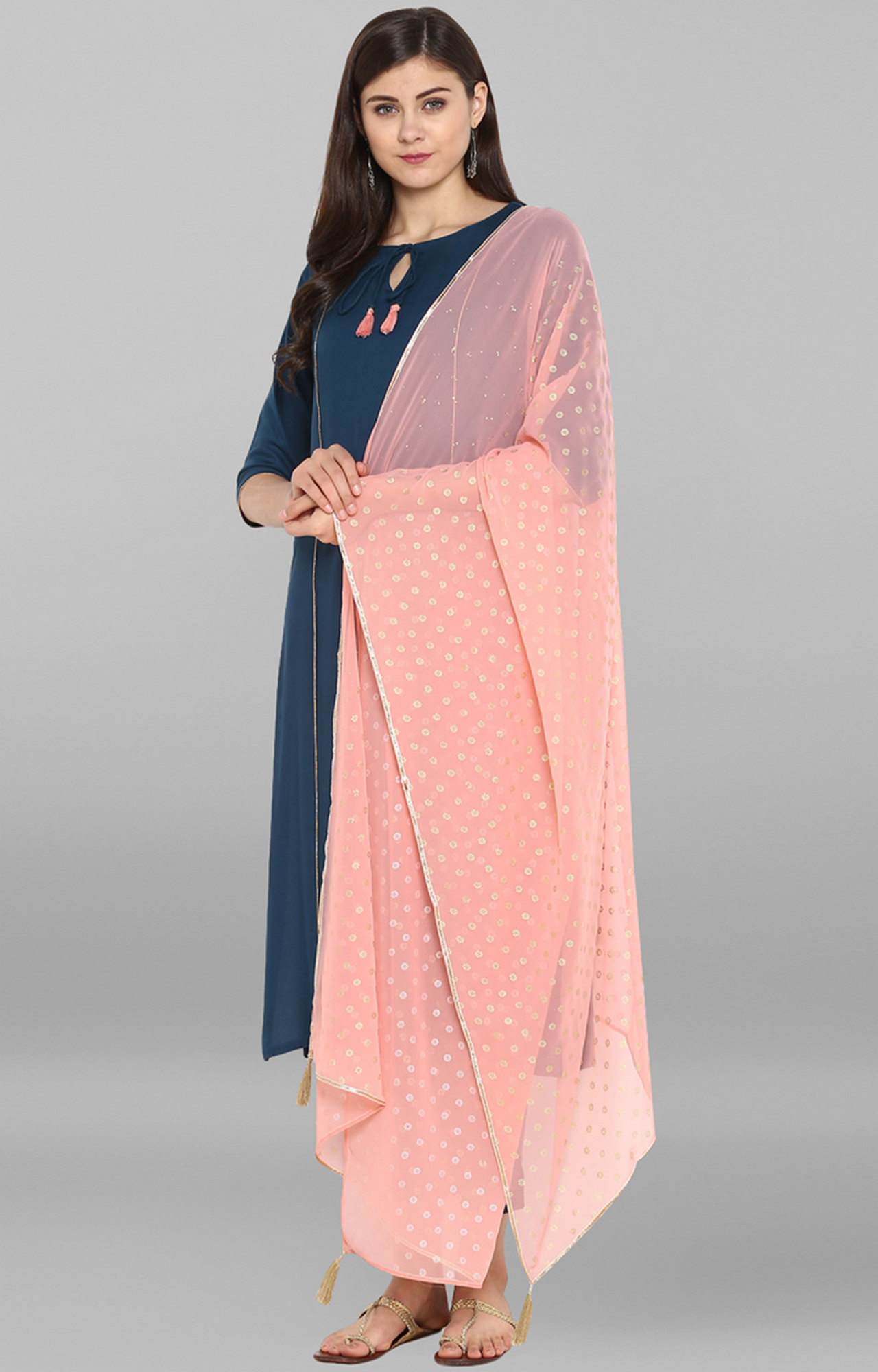Janasya | Turquoise and Pink Printed Suit Set