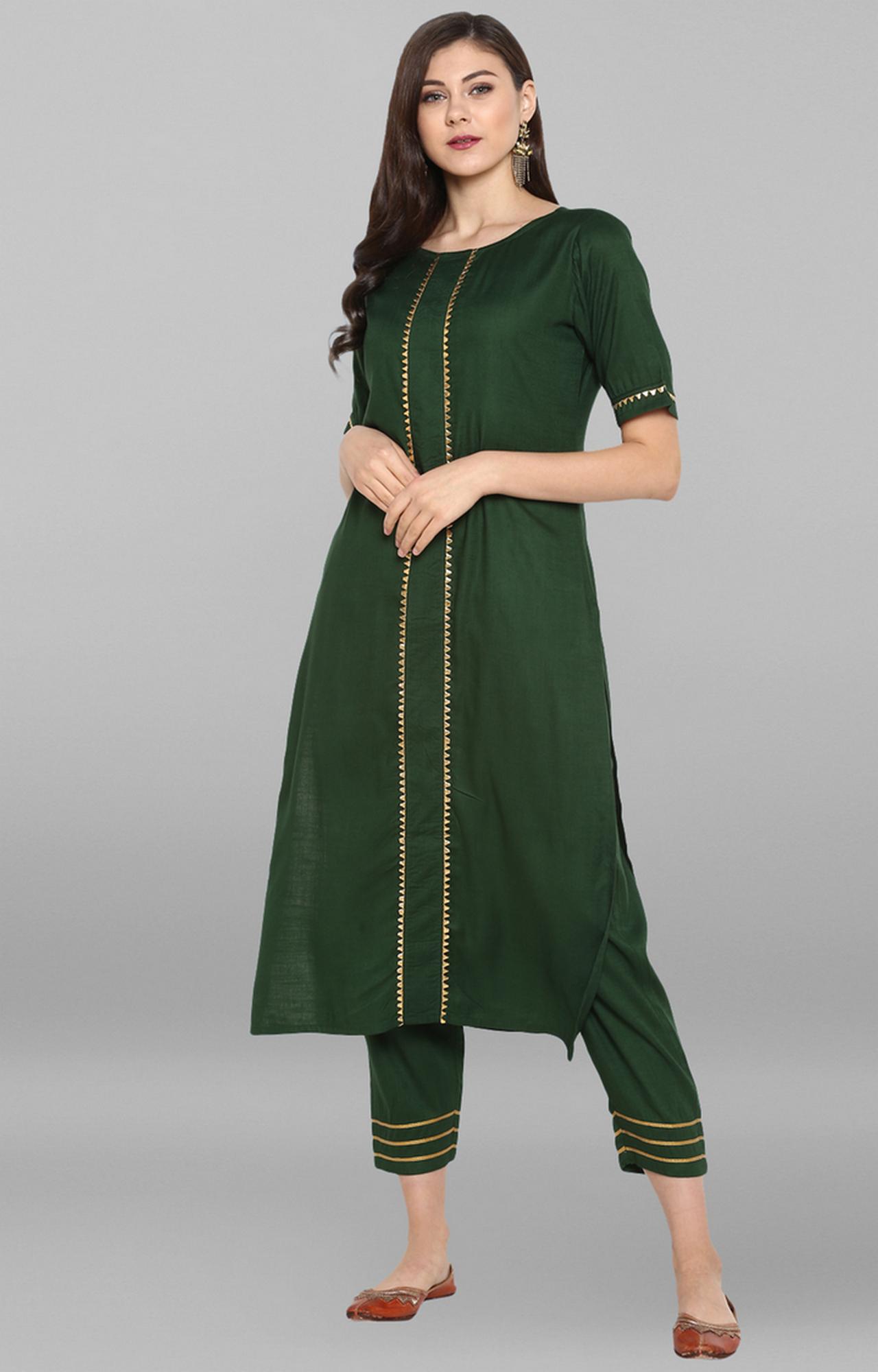 Janasya | Green Solid Kurta and Pants Set