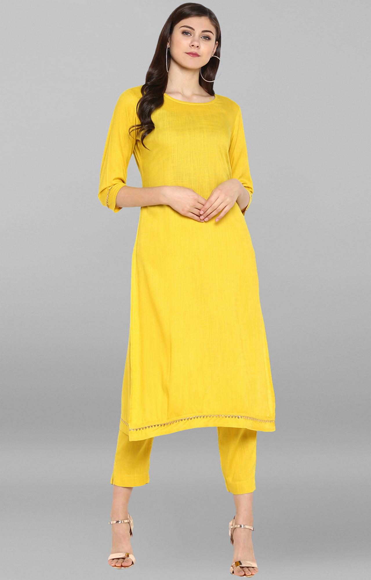 Janasya | Yellow Solid Kurta and Pants Set