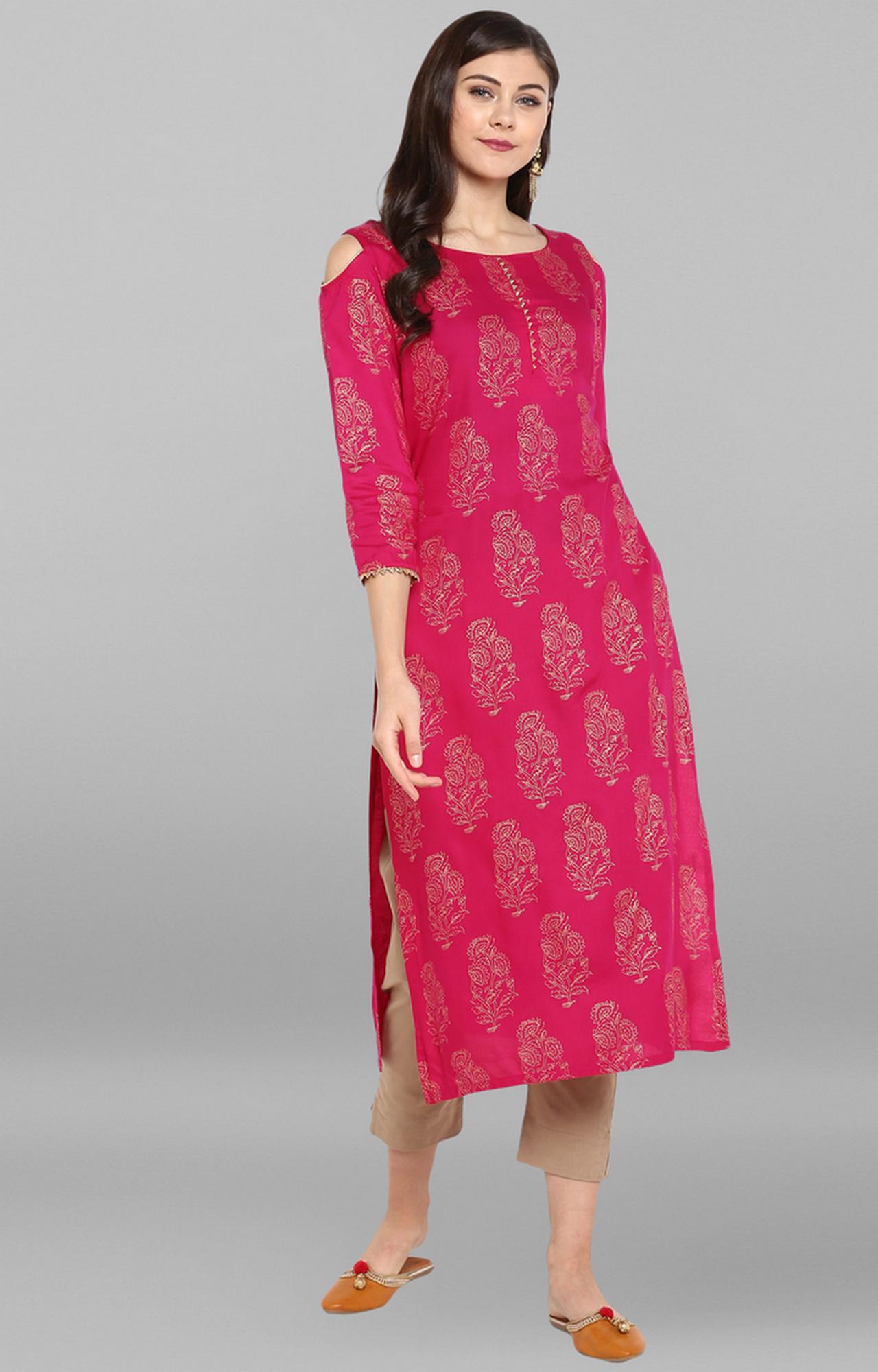 Janasya | Pink Printed Kurta and Pants Set
