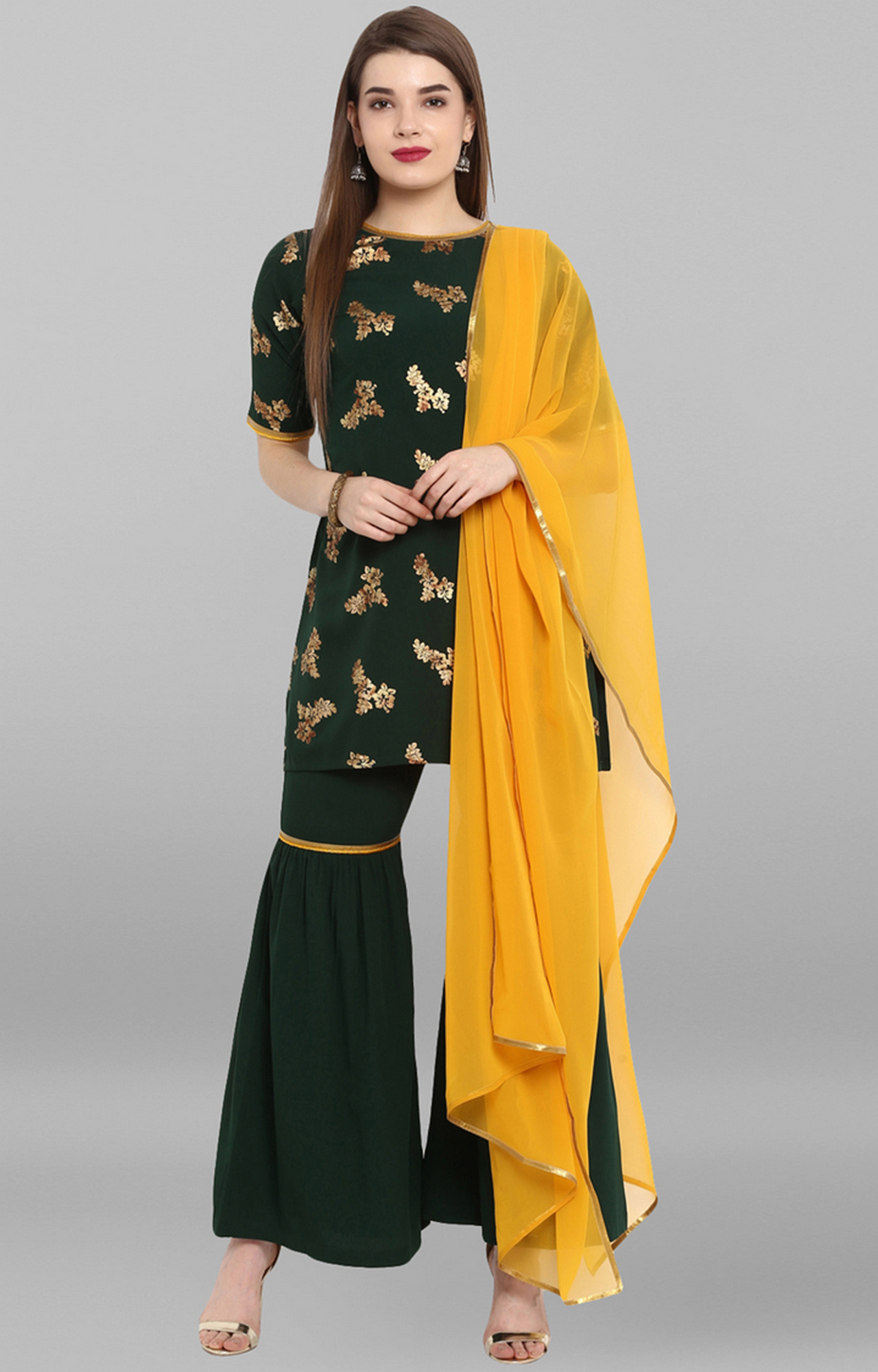 Janasya | Dark Green Printed Suit Set