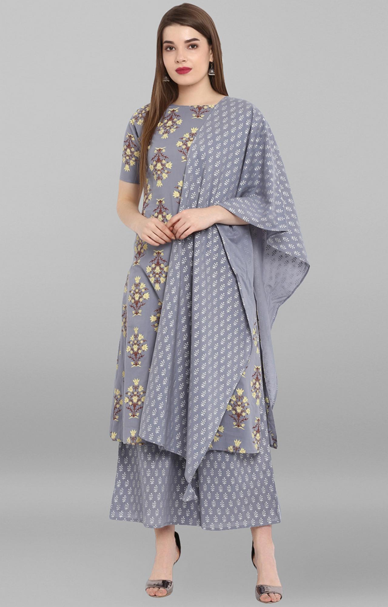 Janasya | Grey Printed Suit Set