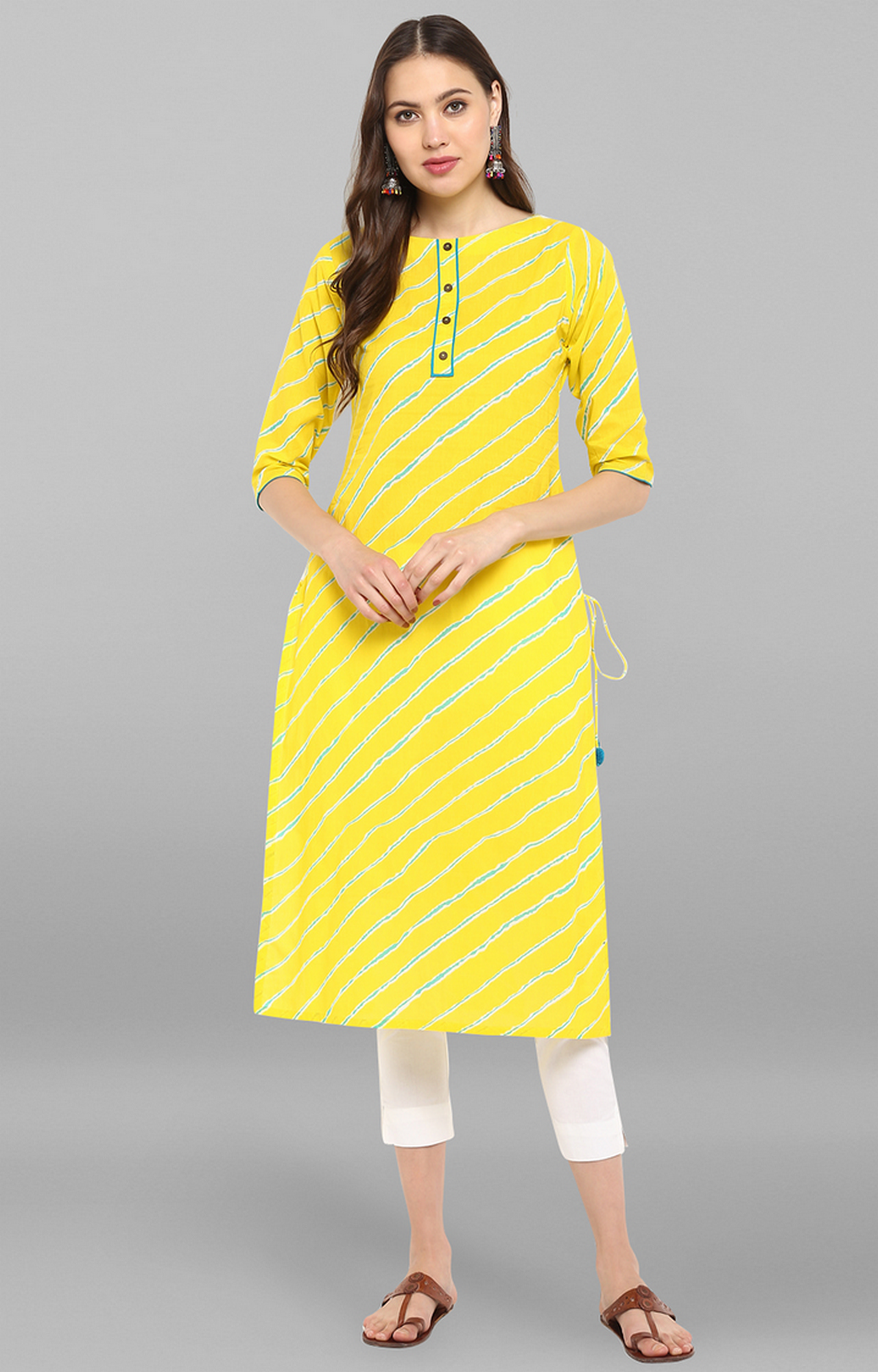Janasya | Yellow Striped Kurta and Pants