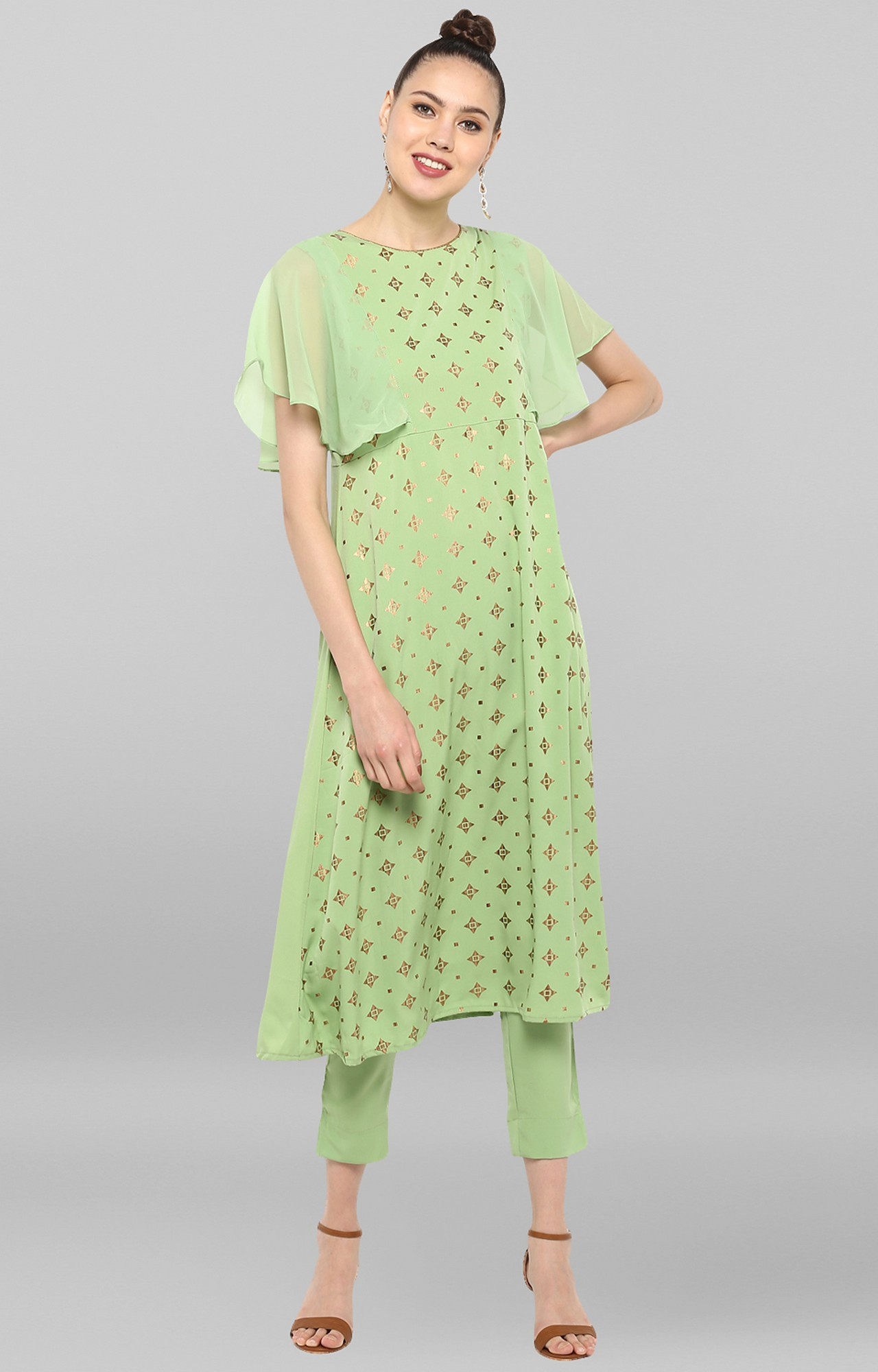 Janasya | Light Green Printed Kurta and Pants