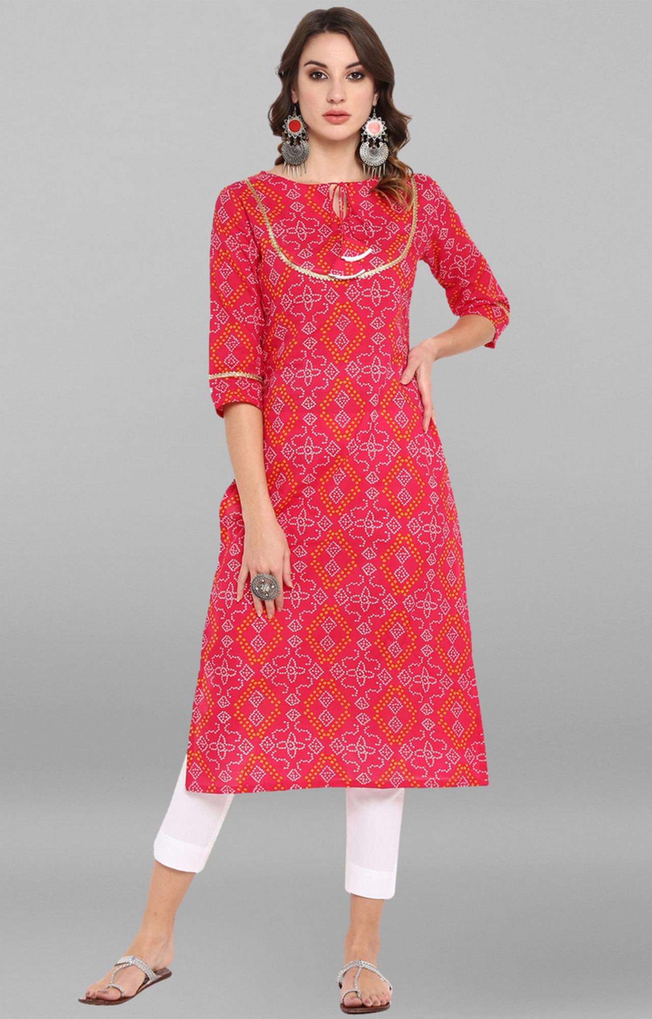 Janasya   Pink Printed Kurta and Pants