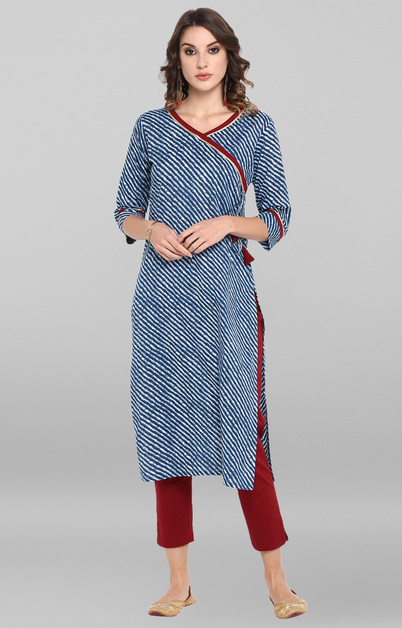 Janasya | Blue Striped Kurta and Pants