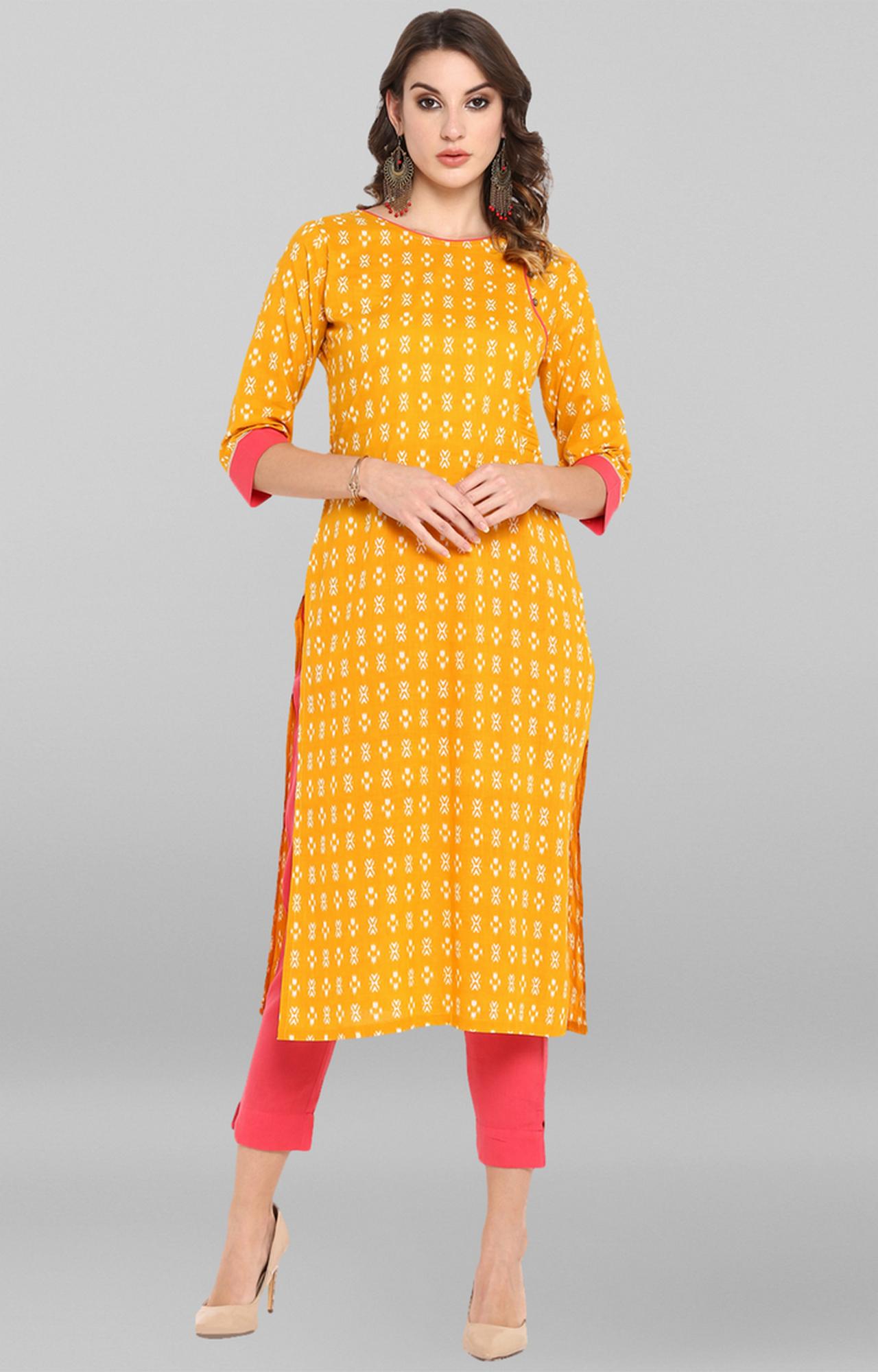 Janasya | Yellow Printed Kurta and Pants
