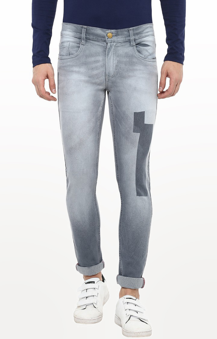 Urbano Fashion   Grey Printed Tapered Jeans
