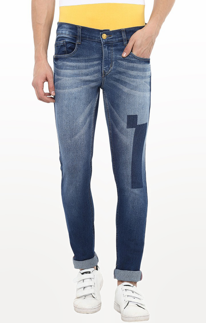 Urbano Fashion   Blue Printed Tapered Jeans