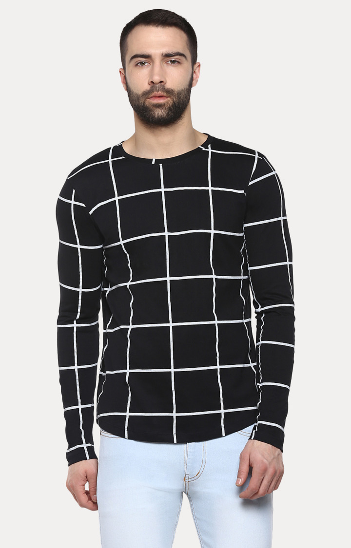Urbano Fashion   Black Checked T-Shirt