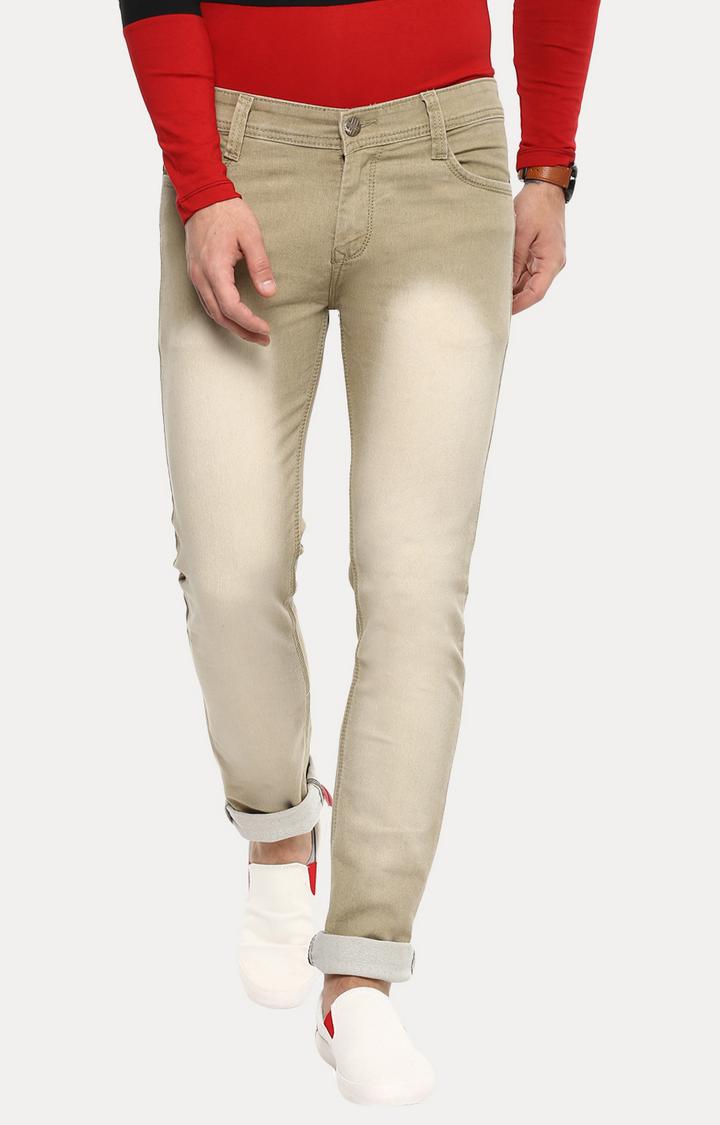 Urbano Fashion | Khaki Solid Straight Jeans