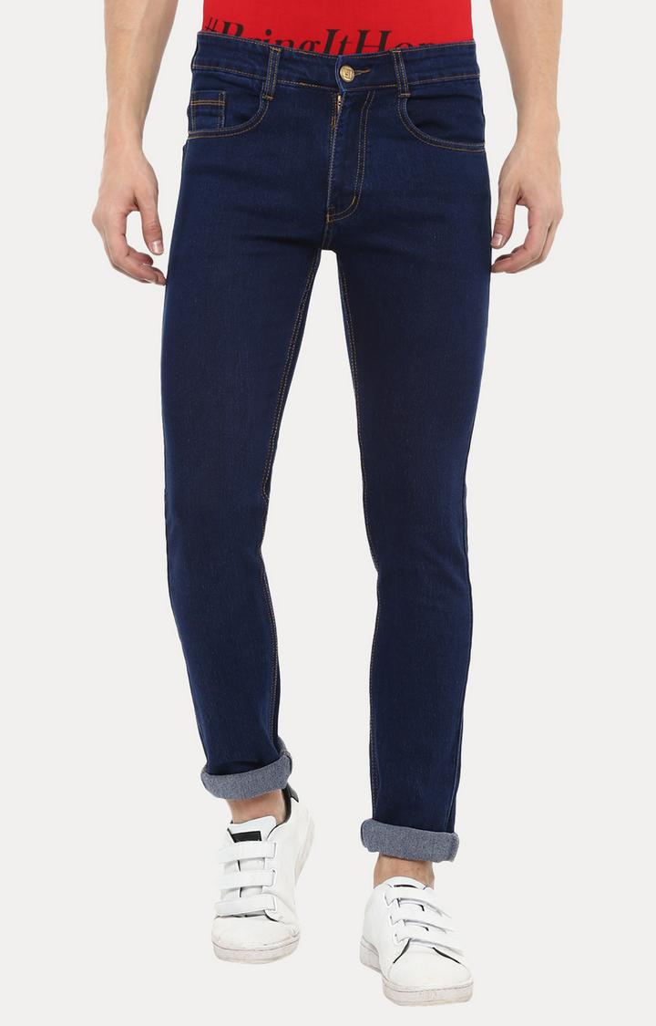 Urbano Fashion | Dark Blue Solid Straight Jeans