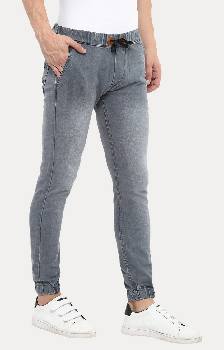 Urbano Fashion | Grey Slim Fit Jogger Stretch Jeans