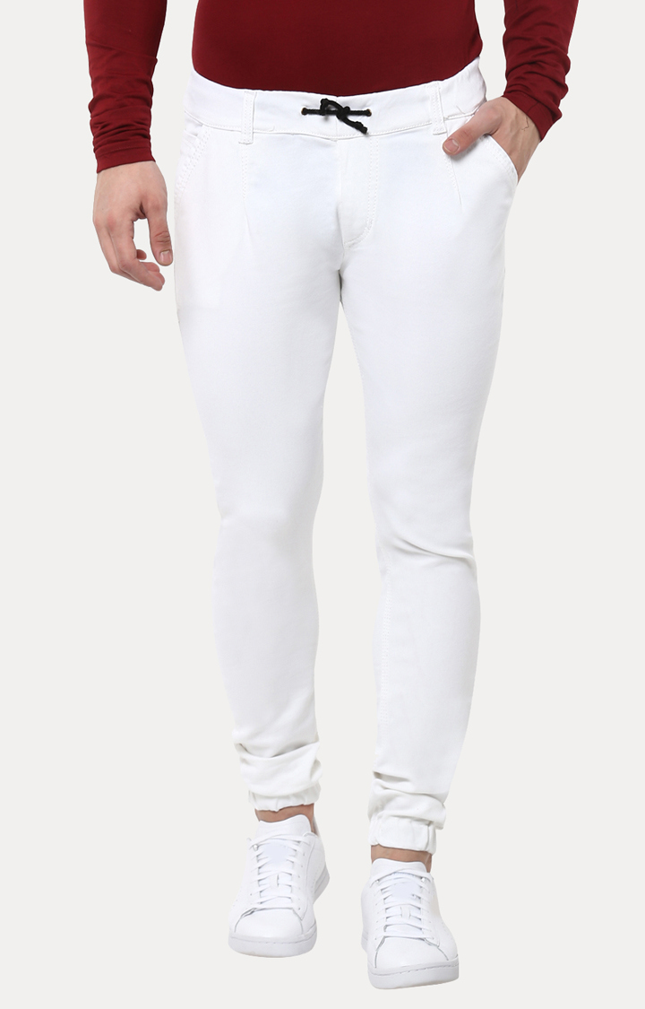 Urbano Fashion | White Solid Joggers