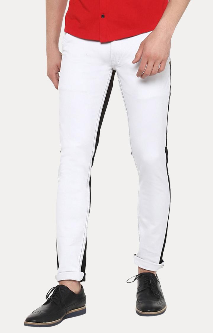 Urbano Fashion | White and Black Colourblock Straight Jeans