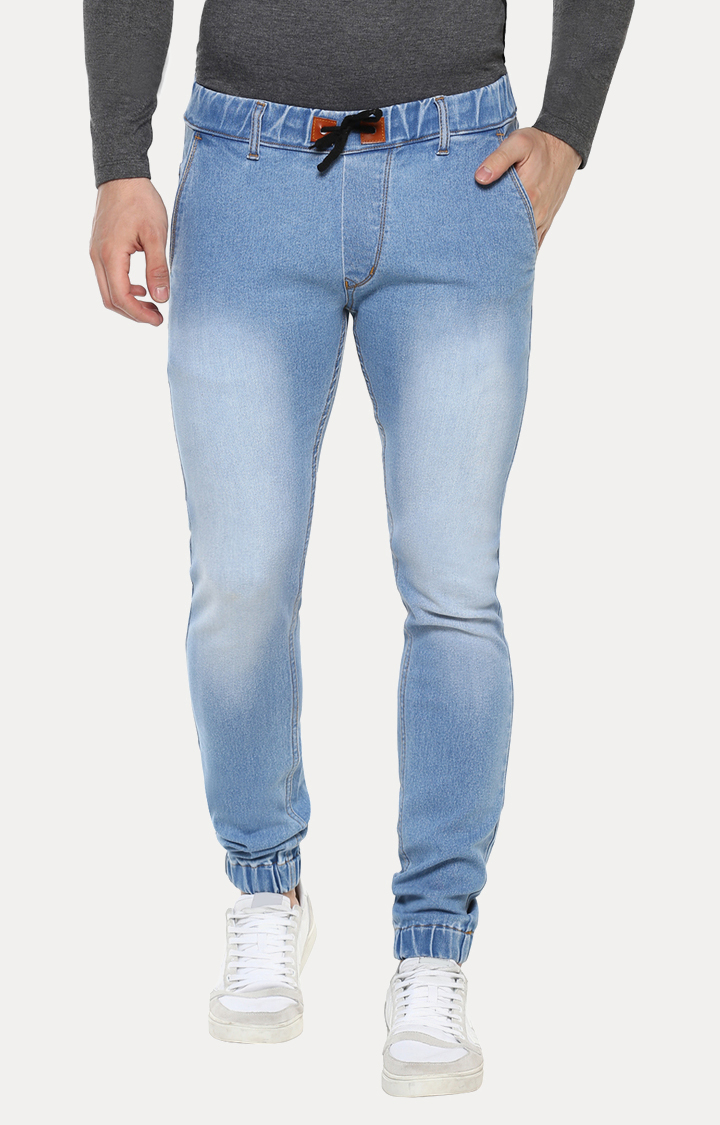Light Blue Solid Joggers