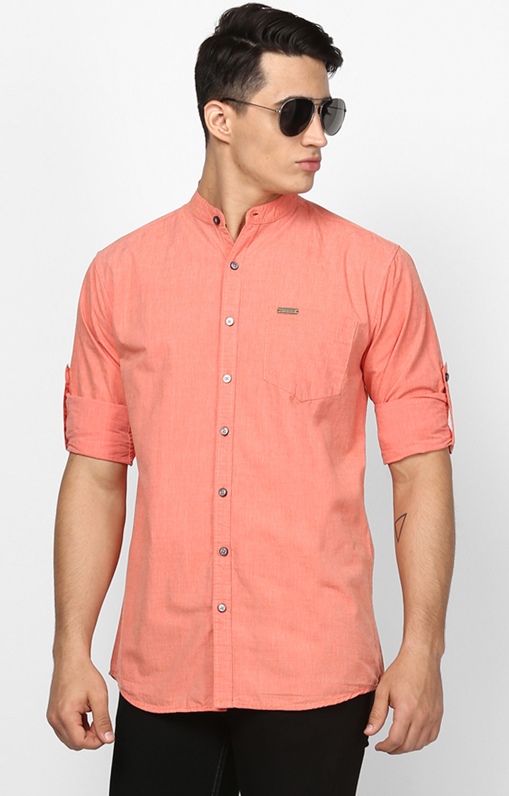 Light Orange Solid Casual Shirt