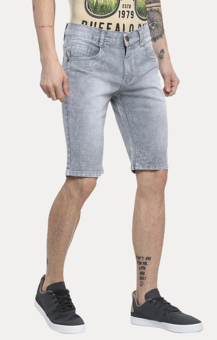 Light Grey Solid Shorts