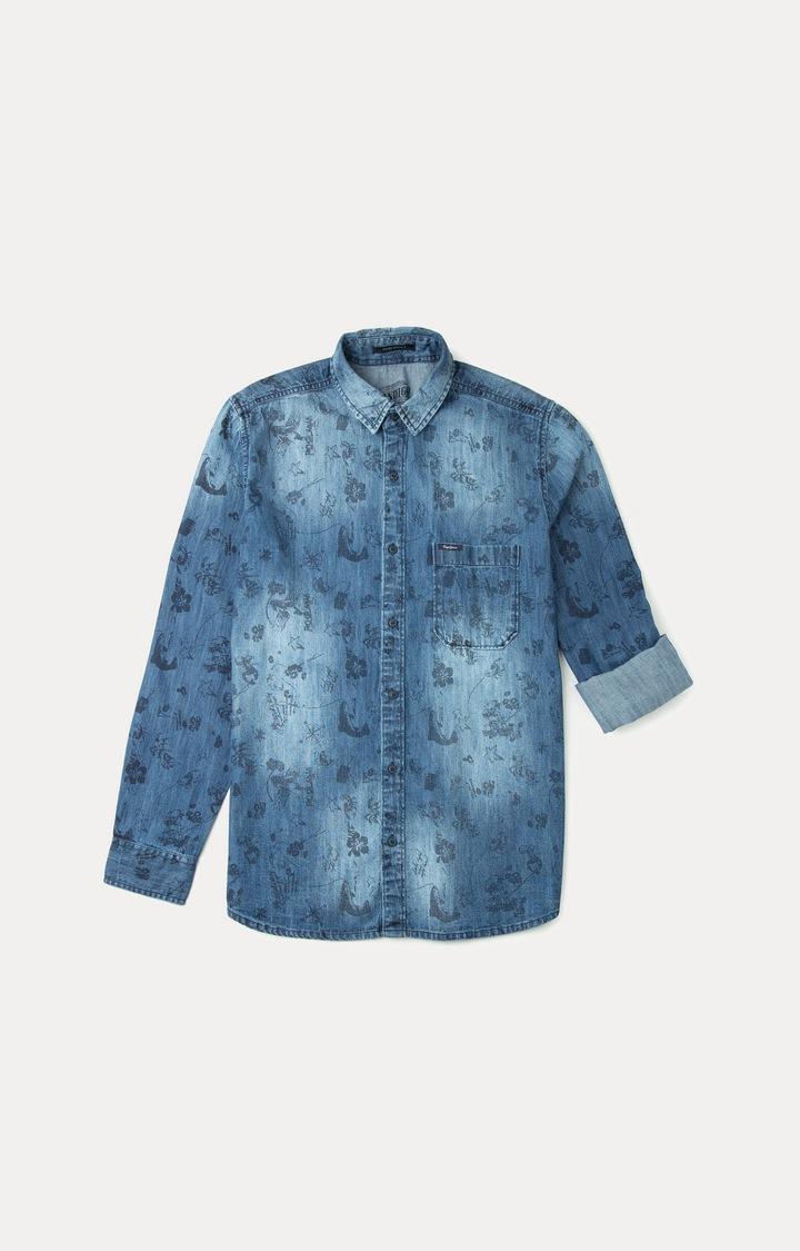Pepe Jeans | Indigo Patterned Casual Shirt