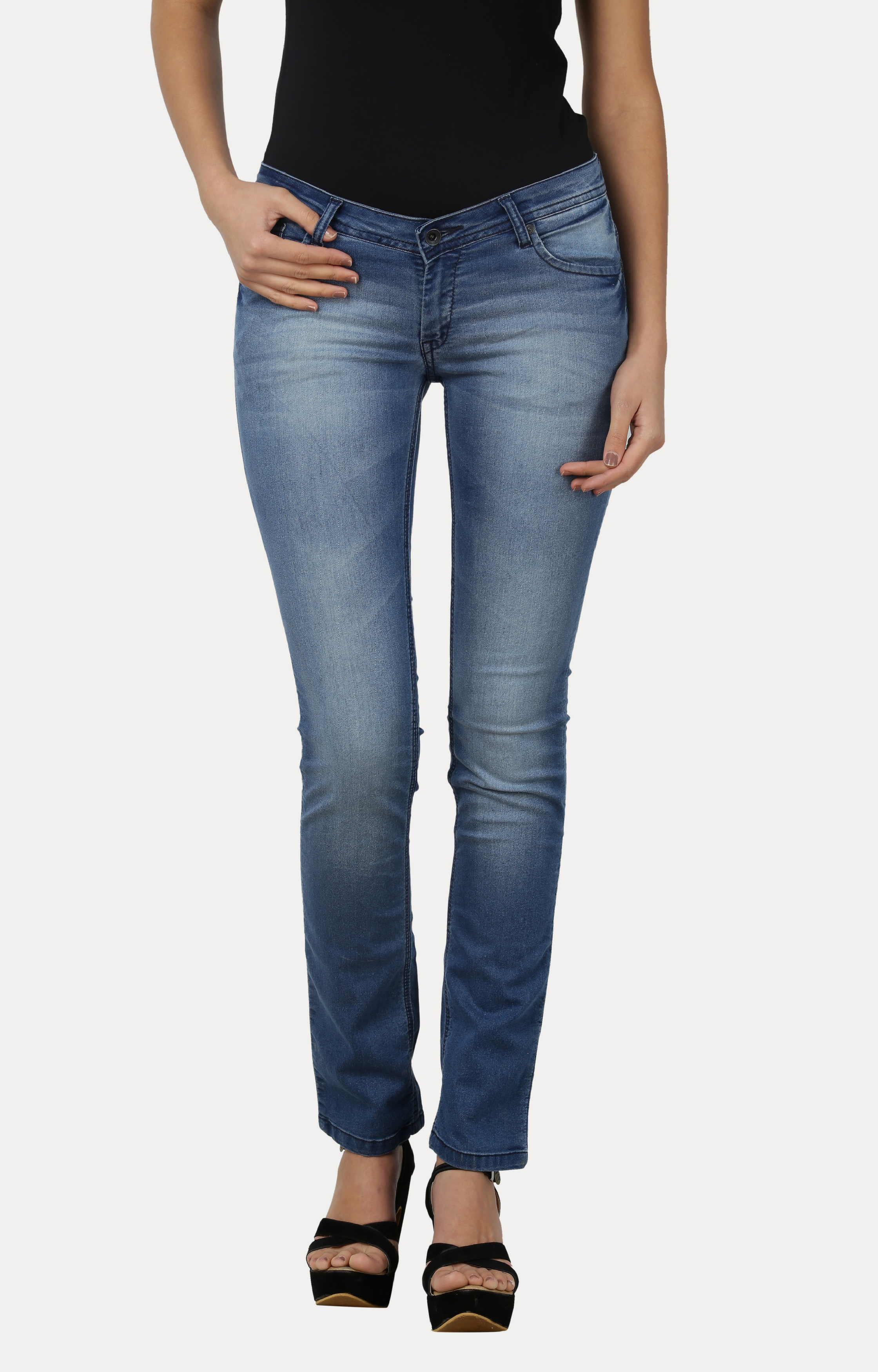 Pepe Jeans | Blue Solid Cropped Jeans