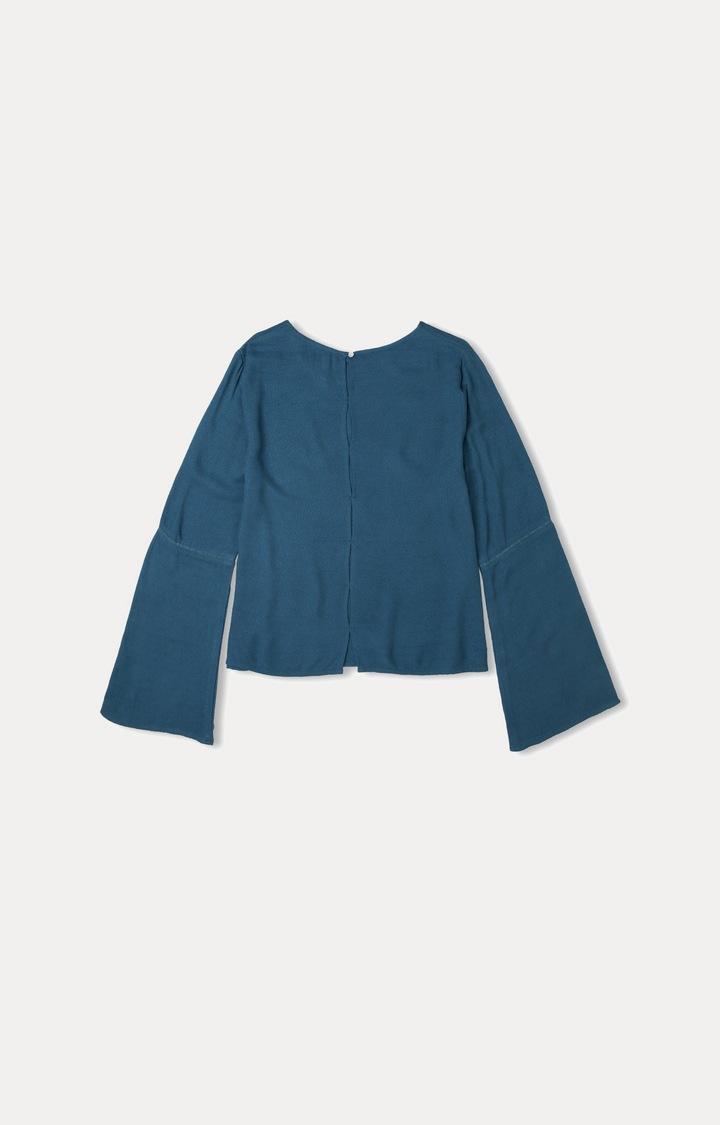 Pepe Jeans | Blue Solid Blouson Top