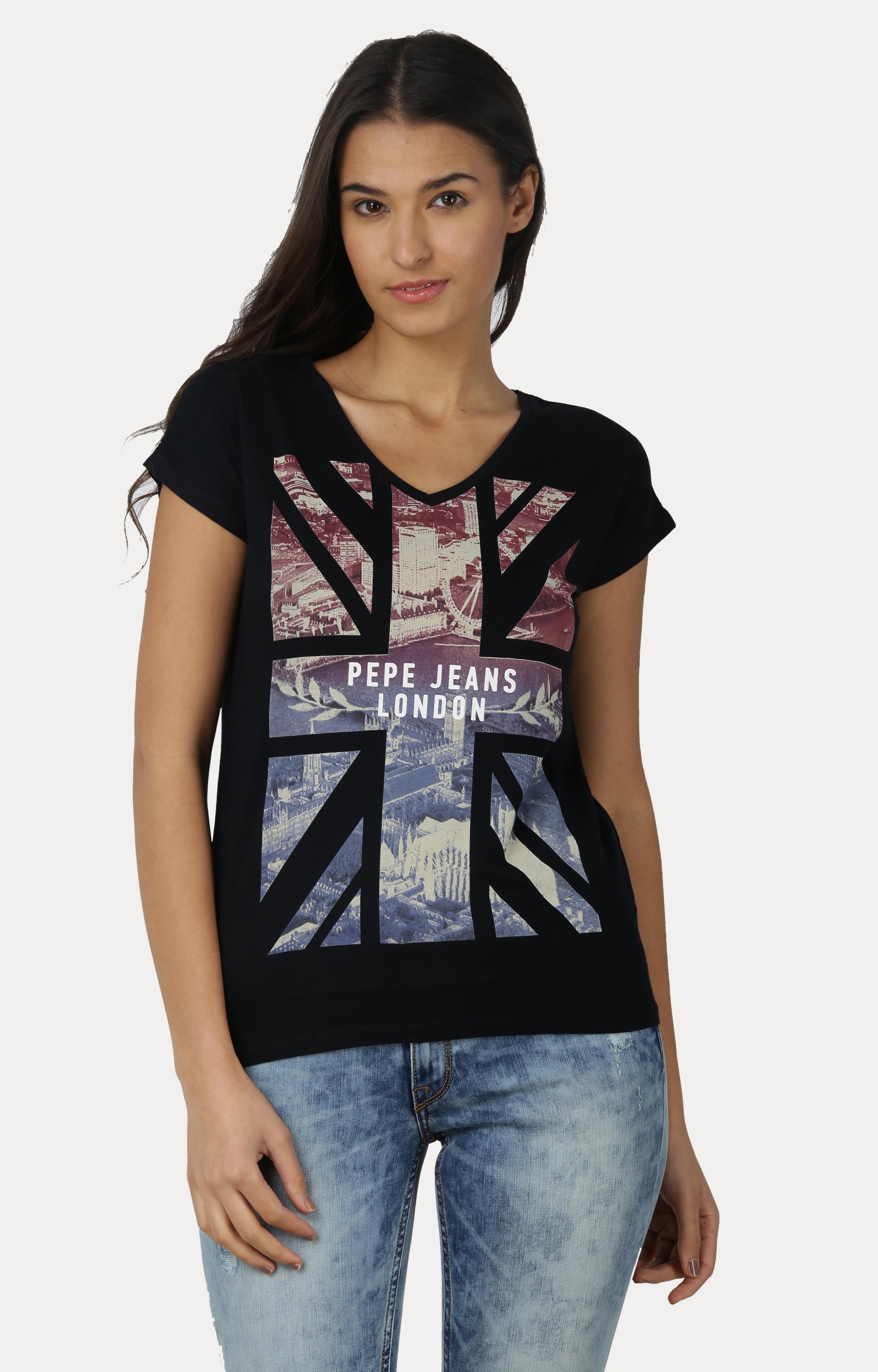 Pepe Jeans | Black Mystic SS Printed Tees