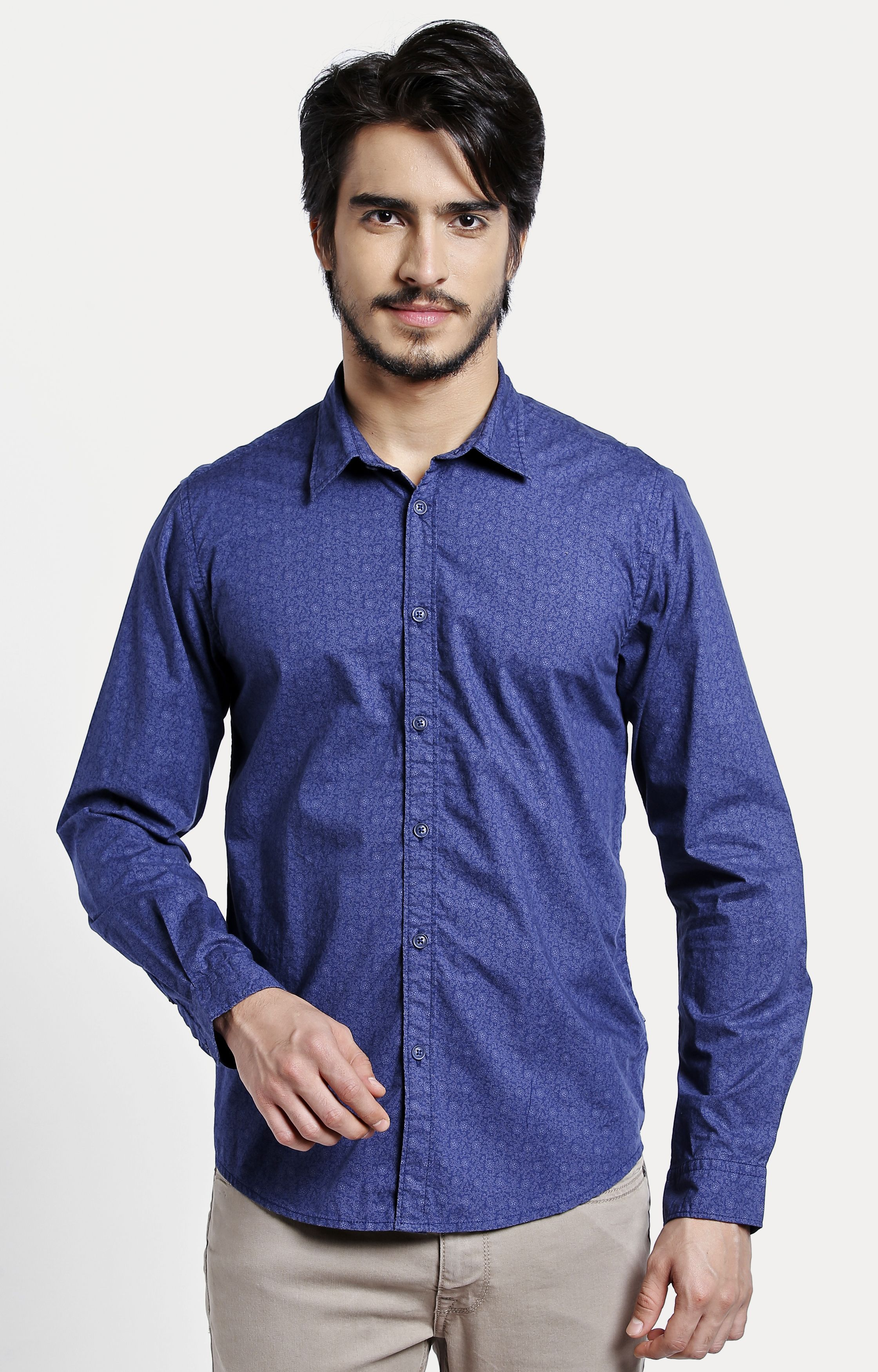 Pepe Jeans | Blue Printed Casual Shirt