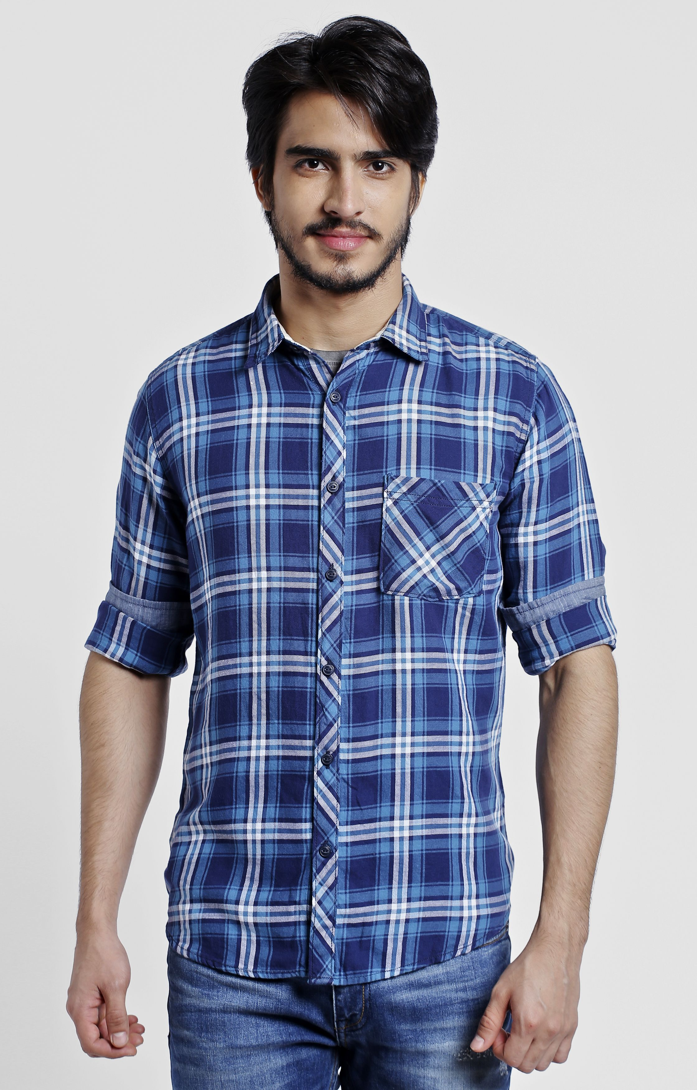 Pepe Jeans   Blue Checked Casual Shirt