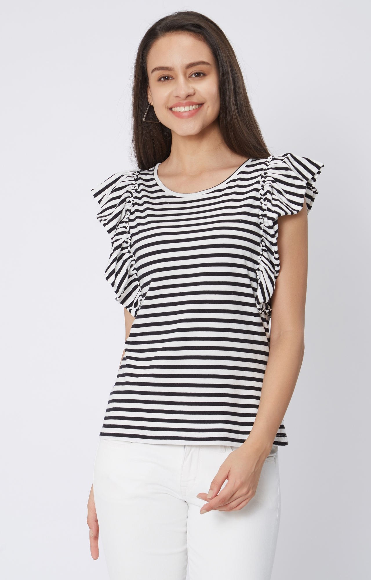 Pepe Jeans   White and Black Striped T-Shirt