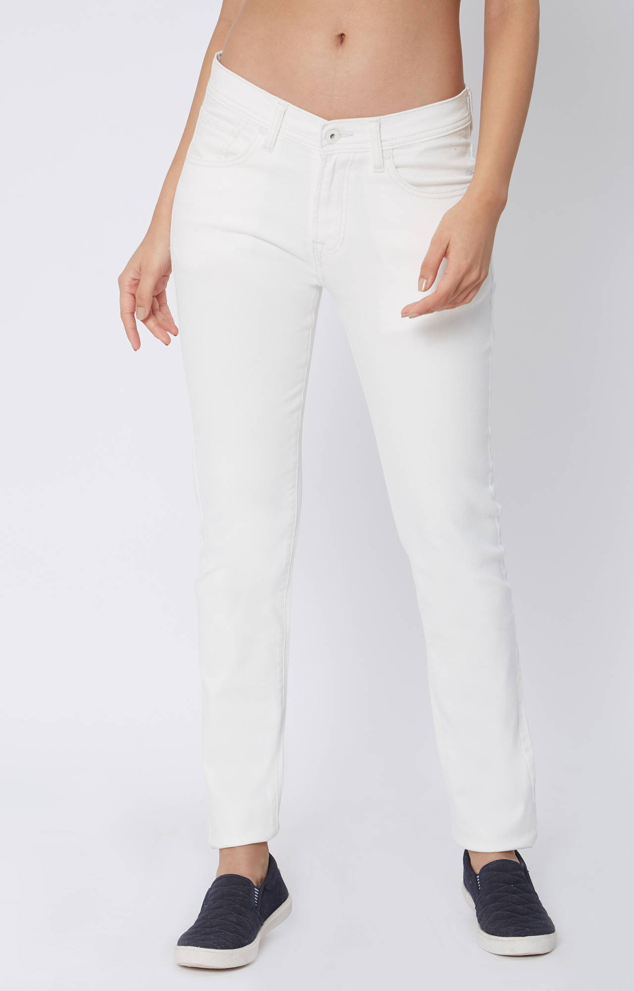 Pepe Jeans | White Solid Straight Jeans