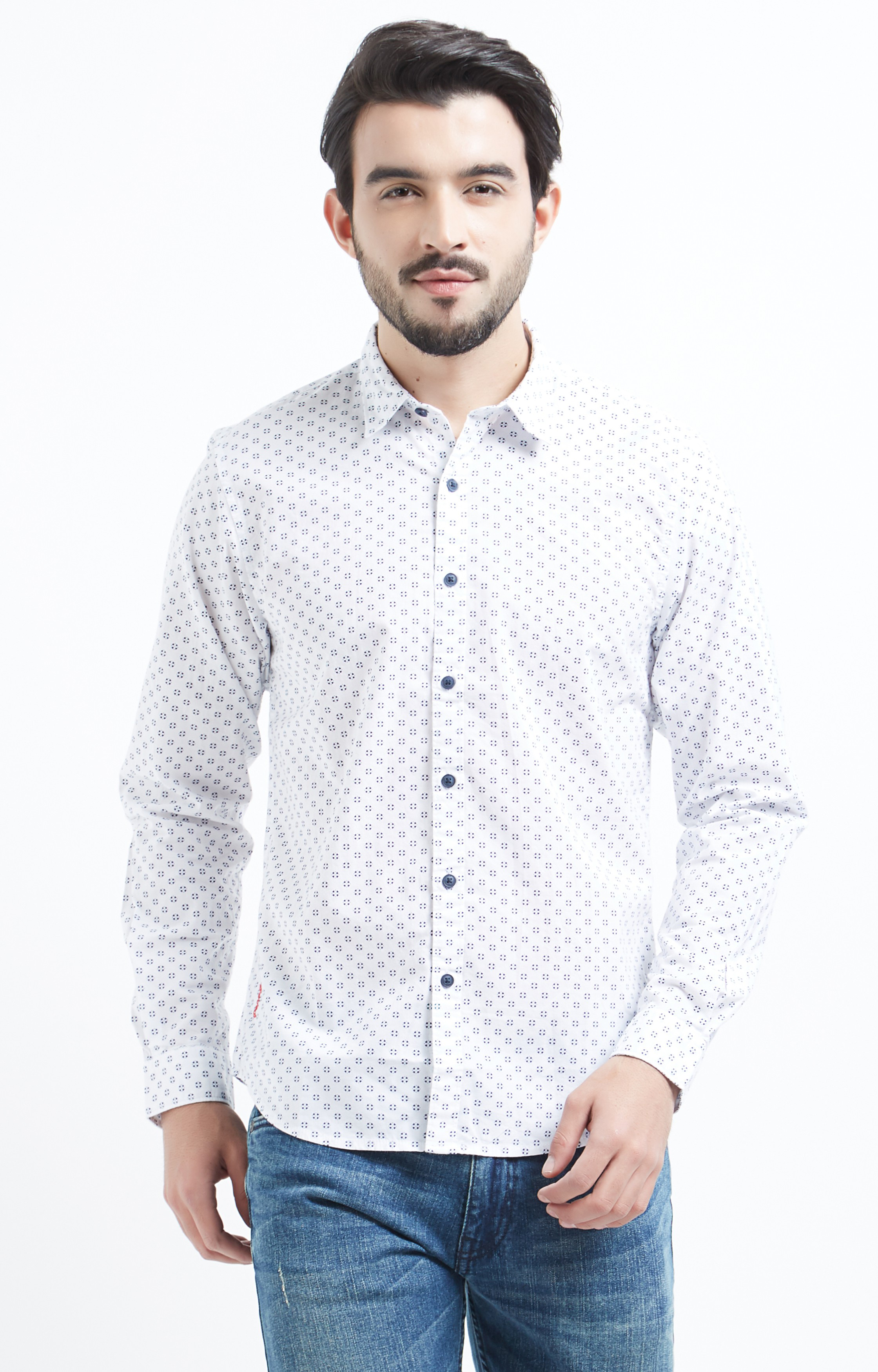 Pepe Jeans | White and Blue Printed Casual Shirt