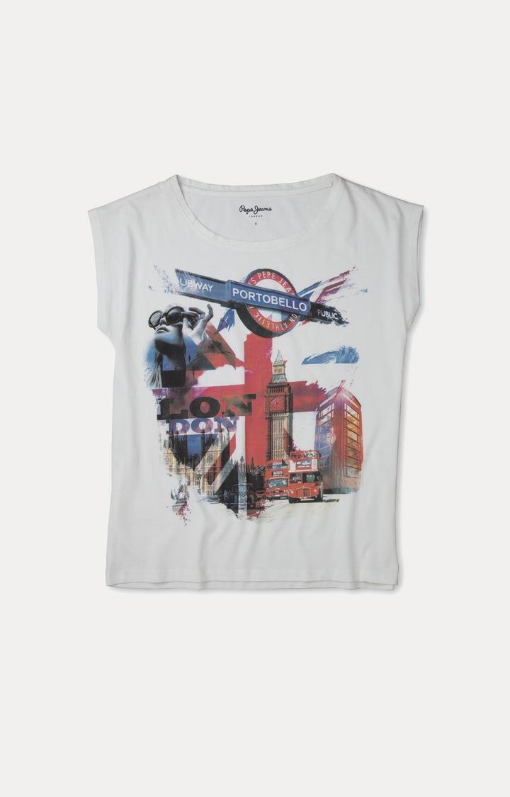 Pepe Jeans | White Printed T-Shirts