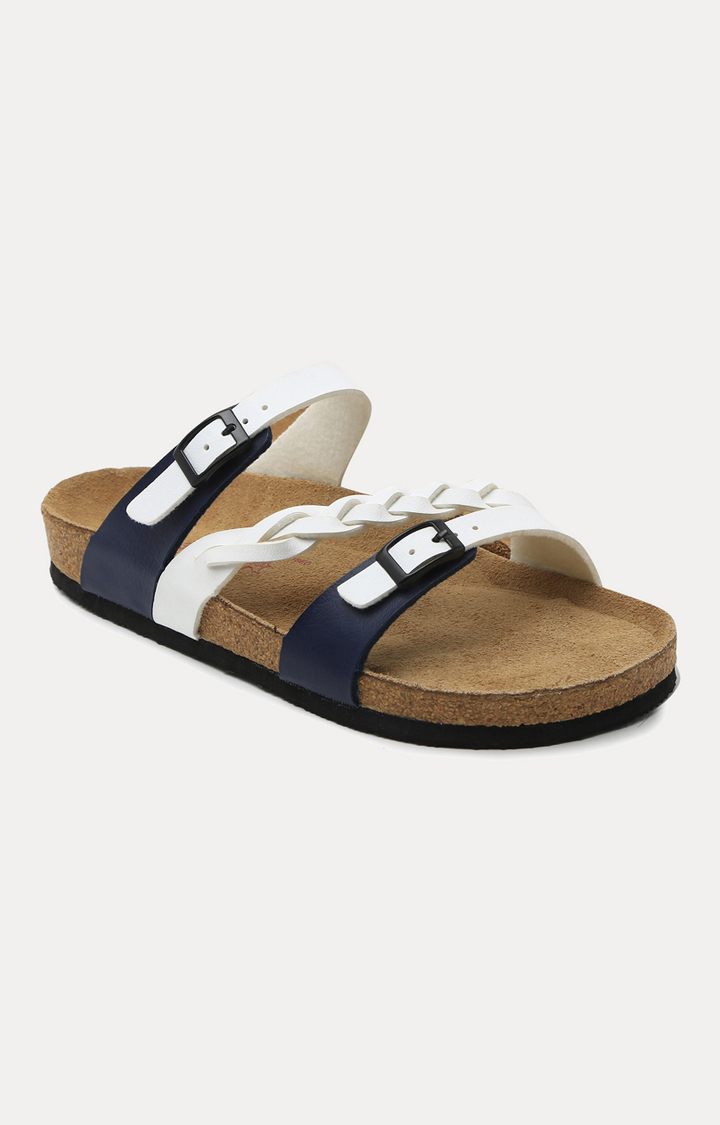 Ruosh | White and Blue Slip-ons