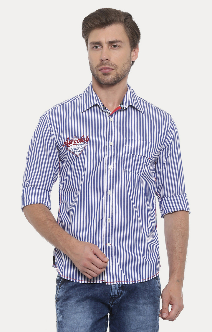 Flyrs Club   White and Blue Striped Casual Shirt
