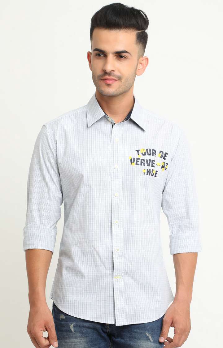 Flyrs Club   White and Green Checked Casual Shirt