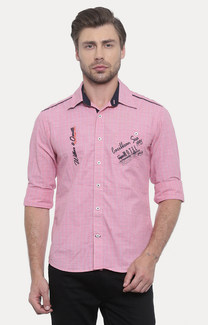 Flyrs Club | Pink Checked Casual Shirt