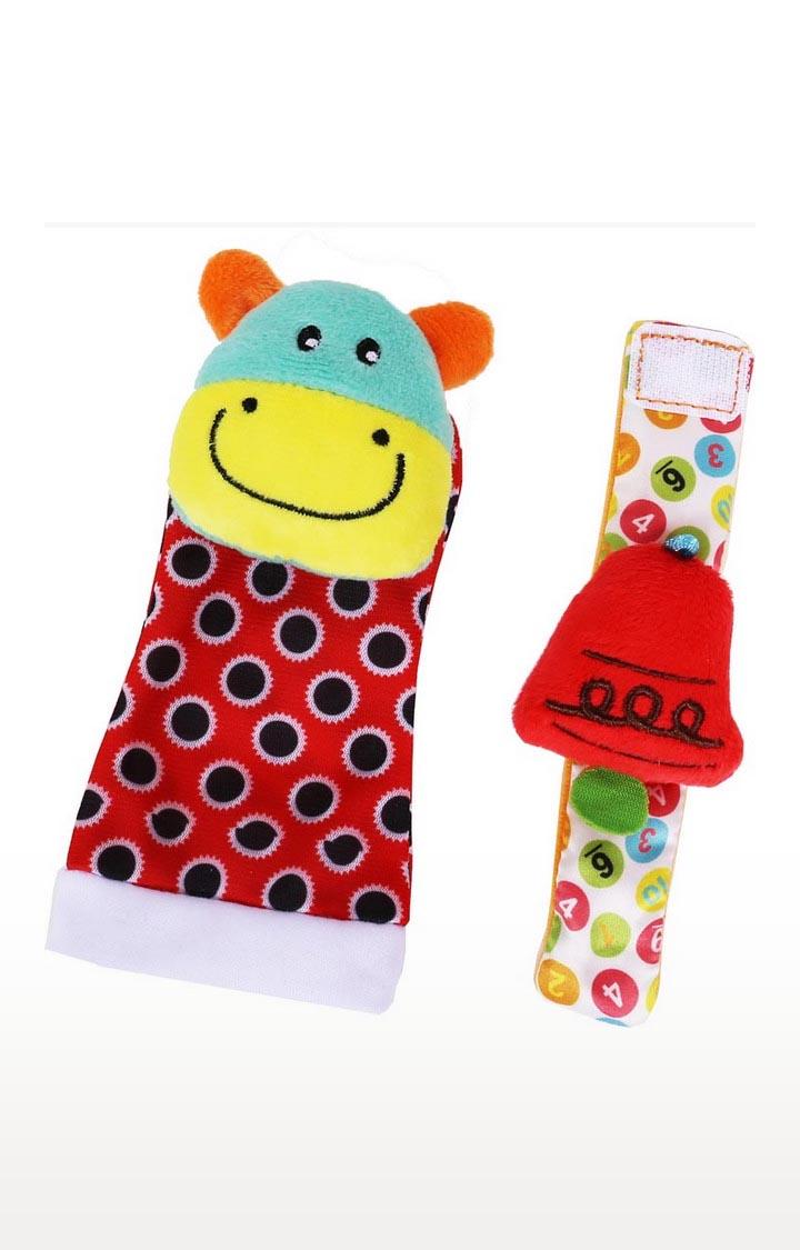 Mothercare   Biba Toys Foot Wrist Rattle - Cow
