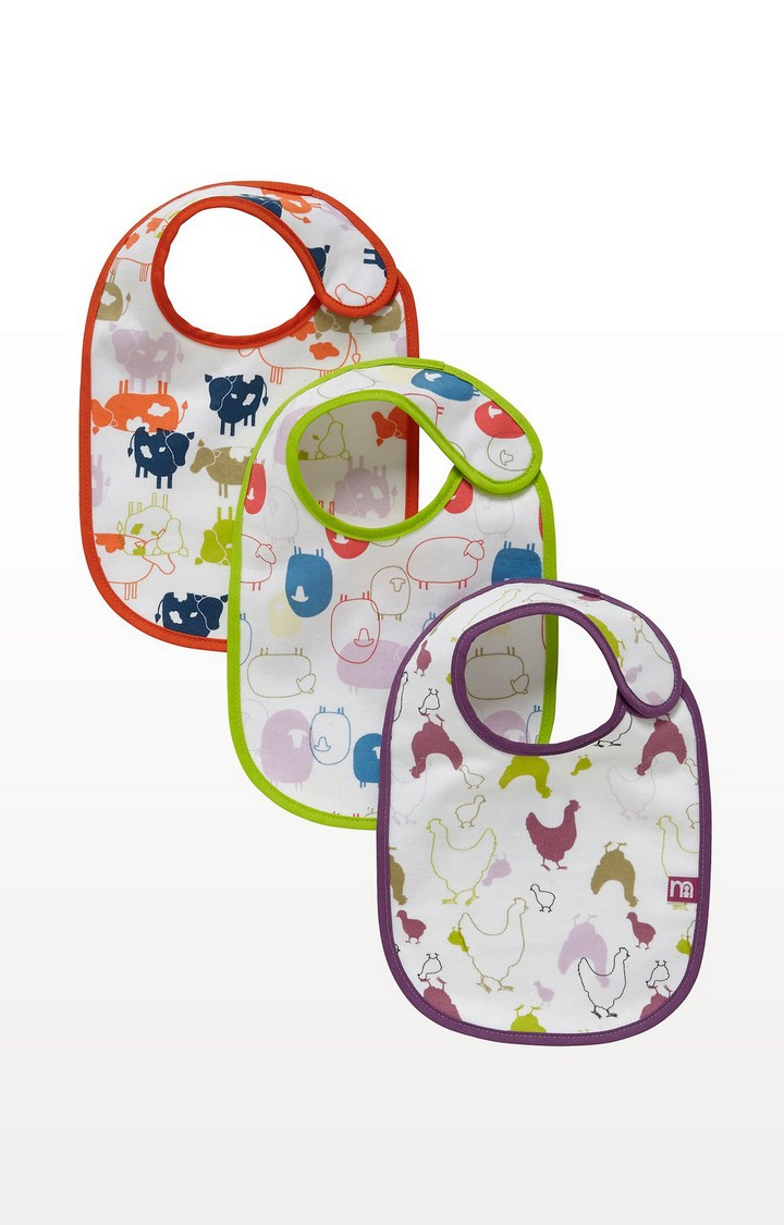 Mothercare | Pink Farm Newborn Bibs - Set of 3