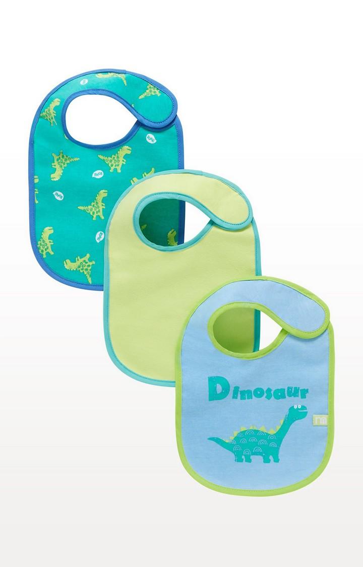 Mothercare | Blue Newborn Dinosaur Bibs - Set of 3