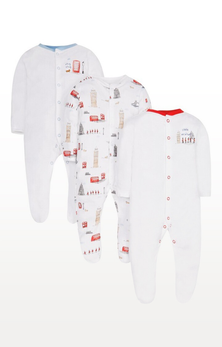 Mothercare | White Printed Little Soldier Heritage Sleepsuits - Pack of 3