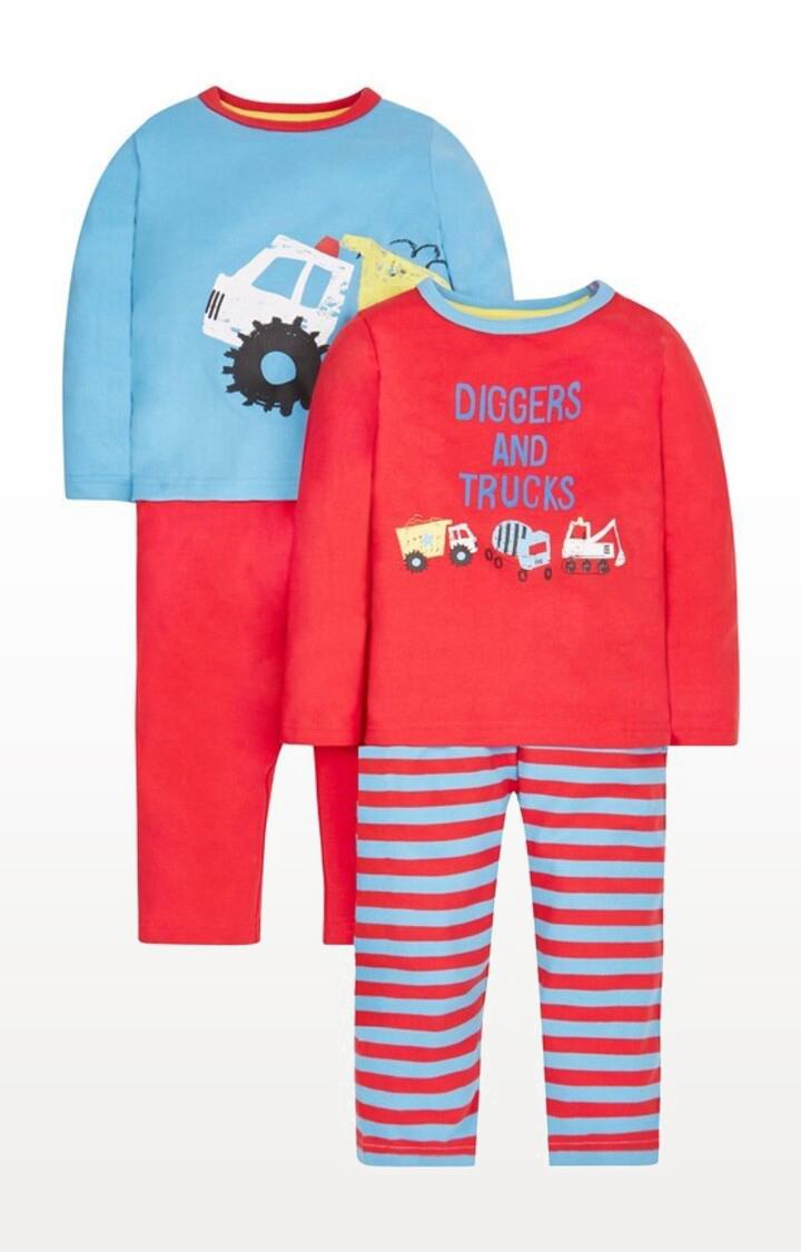Mothercare | Red Printed Trucks Pyjamas - Pack of 2