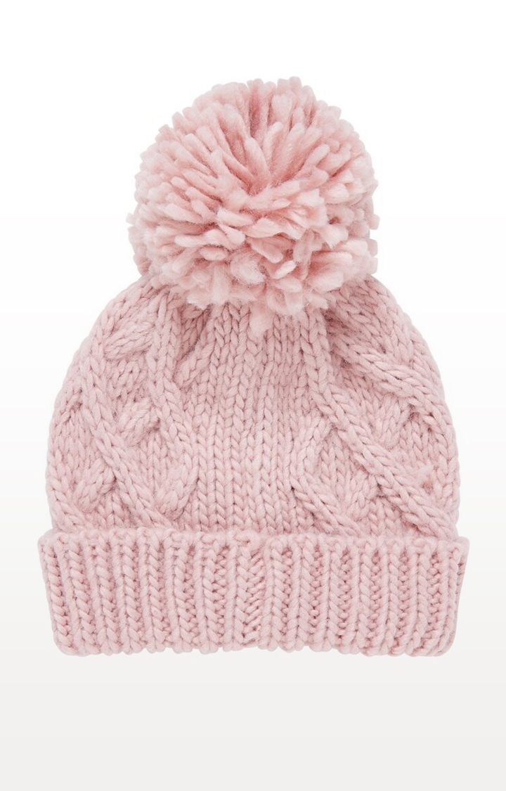 Mothercare   Pink Printed Pink Cable Knit Beanie