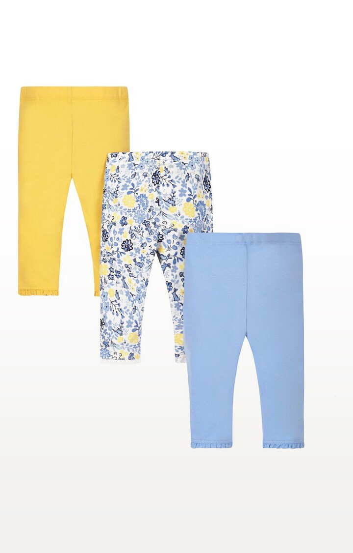 Mothercare | Blue Floral Leggings - Pack of 3