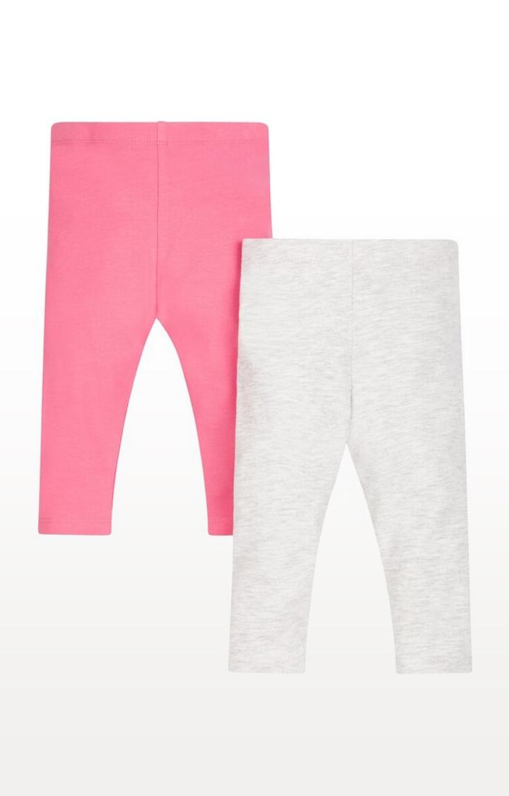 Mothercare | Bright Pink and Grey Printed Leggings - Pack of 2