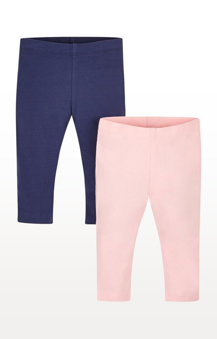 Mothercare | Red Printed Pale Pink and Navy Leggings - Pack of 2