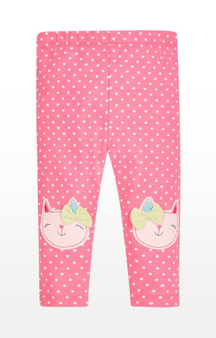 Mothercare | Pink Printed Knee Patch Leggings