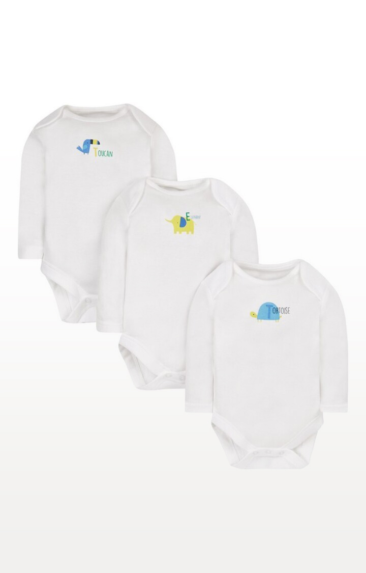 Mothercare | White Printed Happy Animals Bodysuits - Pack of 3